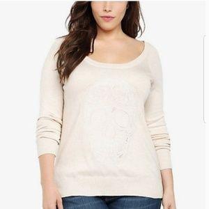 {Torrid} Cream Sweater with Scull